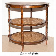 Pair of Neoclassical Style Caned and Oak Side Tables