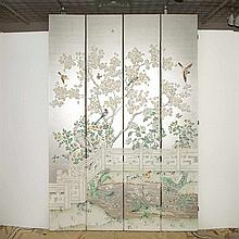 Bird Decorated Wallpaper Four-Panel Screen