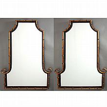 Pair of Regency Style Chinoiserie Black and Gold Painted Wood Mirrors