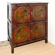 Southeast Asian Painted and Decorated Hardwood Four-Door Cabinet