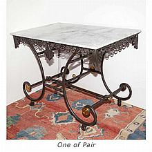 Pair of Art Deco Style Marble Top Iron and Brass Tables