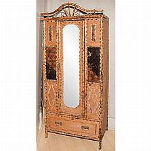 Bamboo and Lacquered Armoire; Together with a Bamboo and Lacquered Dressing Table/ Chest of Drawers