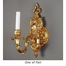 Pair of Italian Baroque Style Gilt-Bronze Single-Light Sconces