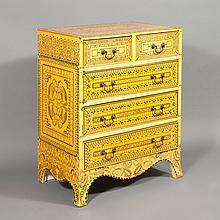 Anglo-Indian Style Yellow and Black Diminutive Chest of Drawers