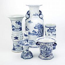 Group of Seven Chinese and Chinese Style Blue and White Porcelain Articles