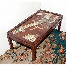 Chinese Antique Lacquered Screen Top Low Table