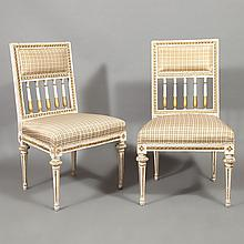Two Pairs of Swedish Neoclassical Style White Painted Side Chairs