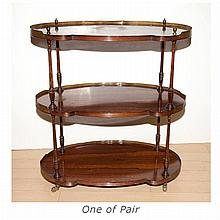 Pair of Regency Style Rosewood Three-Tier Side Tables