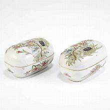Pair of Famile Rose Porcelain Oval Covered Boxes