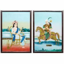 Two Framed Indian Reverse Paintings on Glass