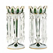 Pair of Bohemian Style White Overlay Green Glass Lustres