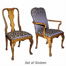 Set of Sixteen Queen Anne Style Walnut Dining Chairs