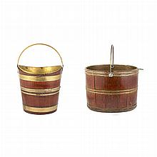 George III Brass Bound Mahogany Peat Bucket; Together with a Brass Bound Oak Bucket