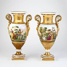 Pair of Paris Porcelain Figural Decorated Vases