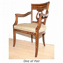 Pair of Dutch Neoclassical Inlaid Walnut Armchairs; And Two Similar Armchairs