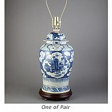 Pair of Chinese Blue and White Glazed Porcelain Lamps