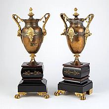 Pair of Empire Style Bronze and Marble Urns
