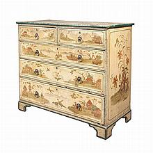Chinoiserie Decorated Painted Chest of Drawers   Height 40 inches, width 43 1/2 inches, depth 21 inches.