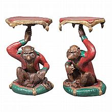 Pair of Polychrome Decorated Carved Wood Monkey-Form Stands
