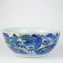 Chinese Export Blue and White Center Bowl