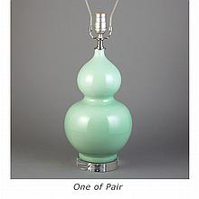 Pair of Celadon Glazed Porcelain Double Gourd Form Lamps