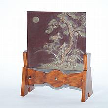 Chinese Hardstone Table Screen on Stand