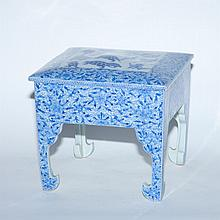 Japanese Blue and White Glazed Porcelain Table-Form Box