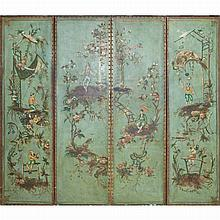 Continental Chinoiserie Decorated Painted Leather Four-Panel Screen