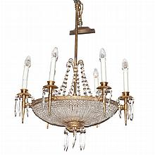 Neoclassical Style Gilt-Metal and Glass Bead Six-Light Chandelier