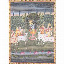 Indian Framed Painting of a God and Attendants