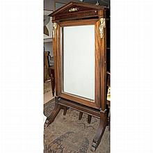 Empire Style Gilt-Metal Mounted Mahogany Cheval Mirror