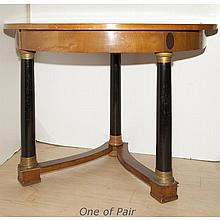Pair of Neoclassical Style Part Ebonized Fruitwood Consoles