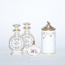 Group of English and Continental Porcelain Tea Caddies and Scent Bottles