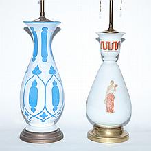 Neoclassical Style Painted White Glass Lamp