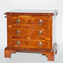 George II Style Walnut and Mahogany Diminutive Chest of Drawers