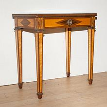 Neoclassical Style Inlaid Burl-Wood Side Table