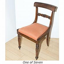 Set of Seven Regency Grain Painted Mahogany Dining Chairs