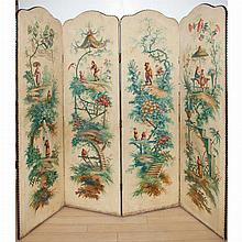Chinoiserie Decorated Painted Canvas Four-Panel Screen
