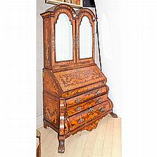 Dutch Rococo Style Marquetry Inlaid Fruitwood Secretary Bookcase