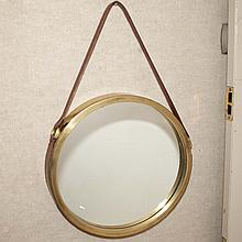 Brass and Leather Framed Mirror