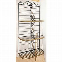 Glass, Brass and Iron Three-Tier Baker's Rack
