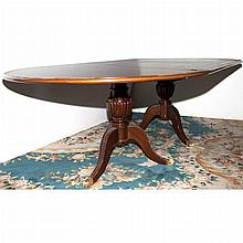 George III Style Inlaid Mahogany Double-Pedestal Dining Table