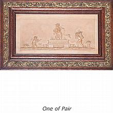 Pair of Framed English Style Glazed Porcelain Plaques