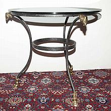 Neoclassical Style Glass Top Brass and Iron Gueridon
