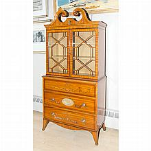 Edwardian Painted Satinwood Secretary Bookcase