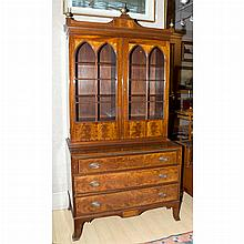 Federal Style Inlaid Mahogany Secretary Bookcase