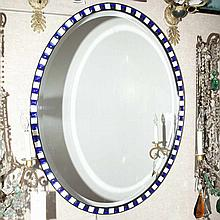 Irish Style Blue and White Framed Oval Mirror