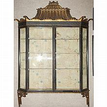 Regency Style Gilt and Black Painted Chinoiserie Decorated Hanging Shelf