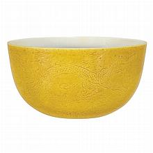 Chinese Yellow Glazed Dragon Bowl