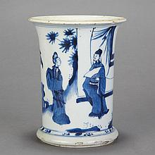 Chinese Blue and White Glazed Porcelain Brushpot